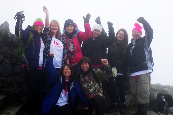 Endometriosis UK fundraisers celebrate reaching the top of Mount Snowdon