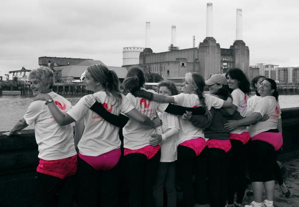 Endometriosis UK fundraisers walk across London in pink pants